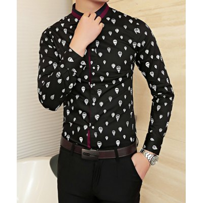 Гаджет   Slimming Trendy Turn-down Collar Color Block Button Fly Long Sleeves Men
