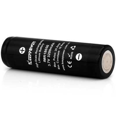 KeepPower 3200mAh 3.7V 18650 Rechargeable IMR Lithium BatteryBatteries<br>KeepPower 3200mAh 3.7V 18650 Rechargeable IMR Lithium Battery<br><br>Type: Battery<br>Brand: Keeppower<br>Battery  : 18650<br>Rechargeable: Yes<br>Protected: No<br>Voltage(V): 3.7V<br>Capacity: 3200mAh<br>Suitable for: PDA, Protable Games, Flashlight<br>Product weight: 48 g<br>Package weight: 0.1 kg<br>Product size (L x W x H): 6.6 x 1.8 x 1.8 cm / 2.60 x 0.71 x 0.71 inches<br>Package size (L x W x H): 8 x 3 x 3 cm<br>Package Contents: 1 x 18650 Battery
