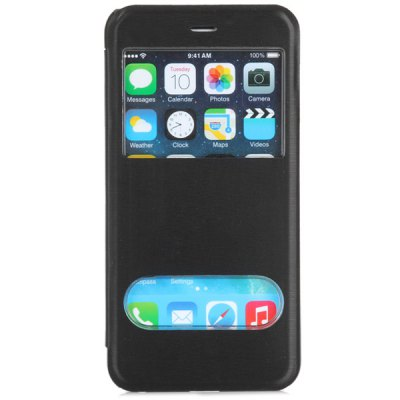 Fashionable Transparent PC and PU Material Cover Case with Dual View Windows for iPhone 6 Plus  -  5.5 inchesiPhone Cases/Covers<br>Fashionable Transparent PC and PU Material Cover Case with Dual View Windows for iPhone 6 Plus  -  5.5 inches<br><br>Compatible for Apple: iPhone 6 Plus<br>Features: Full Body Cases, With View Window<br>Material: PU Leather, Plastic<br>Style: Special Design<br>Color: Black, White, Red, Blue<br>Product weight : 0.039 kg<br>Package weight : 0.100 kg<br>Product size (L x W x H): 15.9 x 8 x 1 cm / 6.3 x 3.1 x 0.4 inches<br>Package size (L x W x H) : 18 x 10 x 3 cm<br>Package contents: 1 x Case