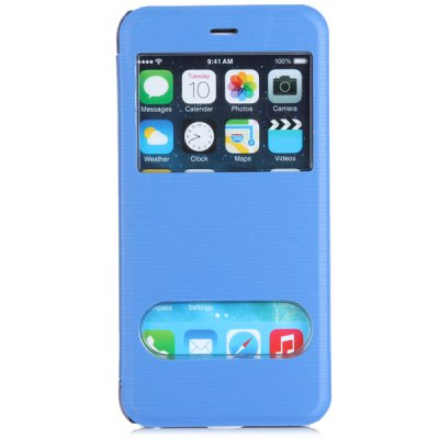 Гаджет   Fashionable Transparent PC and PU Material Cover Case with Dual View Windows for iPhone 6 Plus  -  5.5 inches