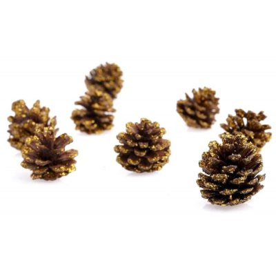 9Pcs Popular Christmas Decors Gilded Pine Cone Pendant
