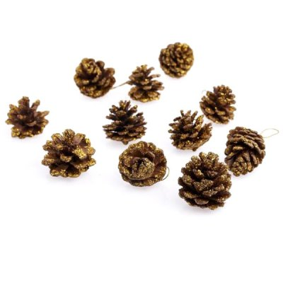 9Pcs Popular Gilded Pine Cone Pendant Christmas Decorations Birthday Festival Party Ball Supplies