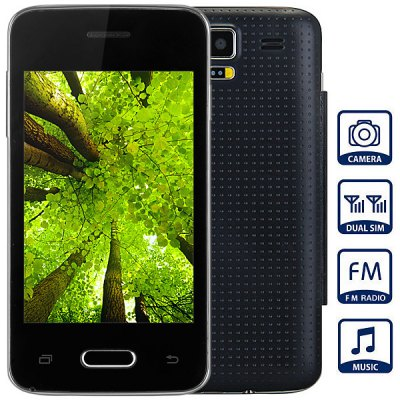 Mini S5 Unlocked Phone with 3.5 inch WVGA Screen FM MP3 Bluetooth Browse Alarm Calendar People Cameras