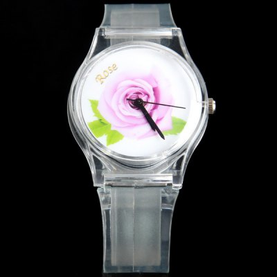 Quartz Watch with Rose Shape Plastic Band Round Dial for Women
