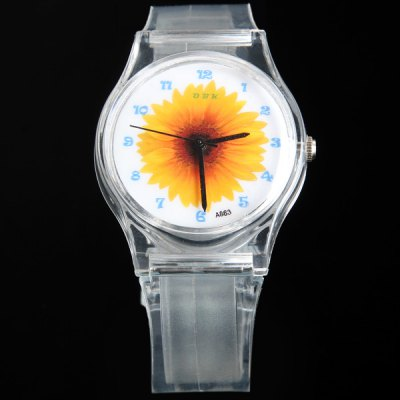 ФОТО A863 Quartz Watch with Sunflowers Pattern Plastic Band Round Dial for Women