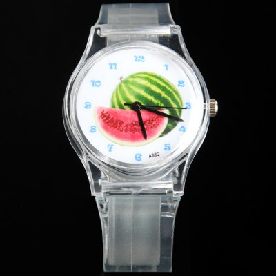 Гаджет   A862 Women Quartz Watch Round Dial Plastic Band with Watermelon Dial Face Women