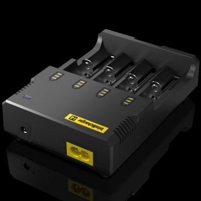Nitecore i4 IntellichargerChargers<br>Nitecore i4 Intellicharger<br><br>Brand: Nitecore<br>Type: Charger<br>Model: Intellicharger i4<br>Plug: US adapter<br>Charging Cell Type: NiCd,Ni-MH,Lithium Ion<br>Compatible: C,AA,AAA,18650,26650,14500,17670,10440,AAAA,18490,22650,17500,17335,16340 (RCR123)<br>Rechargeable Battery Qty: 4<br>Input Voltage: DC 12V,AC 100~240V 50/60HZ<br>Output Voltage: 4.2V + / - 1pct, 1.48V + / - 1pct<br>Fast Charging Function: Yes<br>LCD screen: No<br>Circuit Detection: Yes<br>Protected Circuit: Yes<br>Indicator: The light will stop blinking after fully charged<br>Reverse Polarity Protection: Yes<br>Over Voltage Protection: Yes<br>Short Circuit Protection: Yes<br>Over Charging Protection: Yes<br>Over Discharging Protection: Yes<br>Product weight: 0.212 kg<br>Package weight: 0.4 kg<br>Product size (L x W x H): 13.5 x 9.5 x 3.0 cm / 5.3 x 3.7 x 1.2 inches<br>Package size (L x W x H): 20 x 20 x 4 cm<br>Package Contents: 1 x Nitecore i4 Intellicharger, 1 x US Plug Cable, 1 x Car Charger