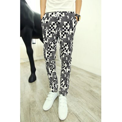 Гаджет   Trendy Lace-Up Slimming Classic Personality Checked Print Straight Leg Men