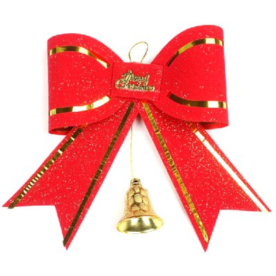 Exquisite Christmas Adornment Big Red Bow Tie Golden Bell Bowknot Xmas Tree Pendant Birthday Festival Party Decorations
