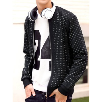 Гаджет   Fashionable Stand Collar Rivets Embellished Slimming Long Sleeves Men