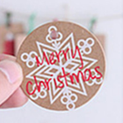 20Pcs Charming Christmas Props Snowflake Pattern Kraft Paper Gift Tags