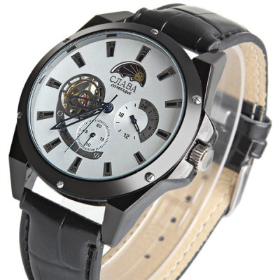ФОТО CJIABA 507 Automatic Mechanical Male Watch Functional Sub - dials Leather Strap Round Dial