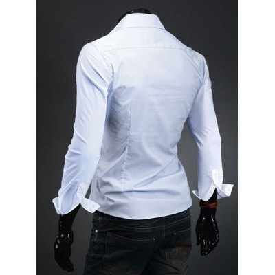 Laconic Turn-down Collar Slimming Personality Pocket Embellished Long Sleeves Mens Cotton Blend ShirtMens Shirts<br>Laconic Turn-down Collar Slimming Personality Pocket Embellished Long Sleeves Mens Cotton Blend Shirt<br><br>Shirts Type: Casual Shirts<br>Material: Polyester, Cotton<br>Sleeve Length: Full<br>Collar: Turn-down Collar<br>Weight: 0.5KG<br>Package Contents: 1 x Shirt