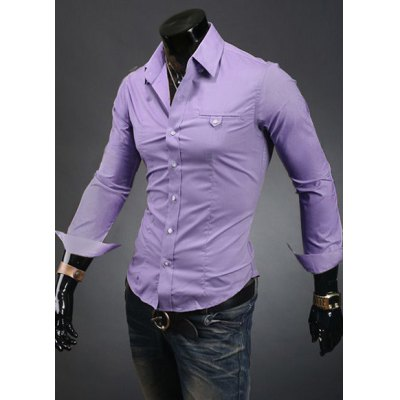 Гаджет   Laconic Turn-down Collar Slimming Personality Pocket Embellished Long Sleeves Men