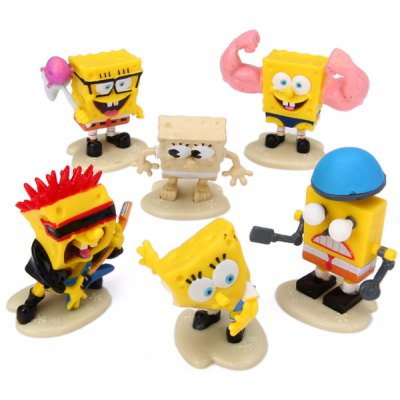 6pcs PVC Cartoon Sponge Bob Animation Character Model Figurines