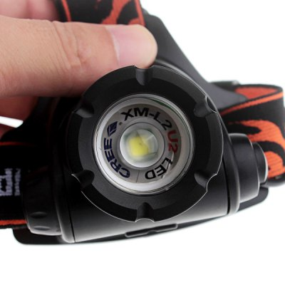 CREE XM - L2 LED Zoomable Waterproof Headlamp (3 - Modes 1800LM 2 x 18650 Battery)