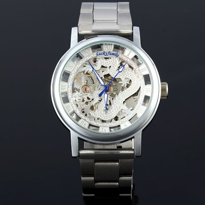 ФОТО Lucky family Hollow - out Men Automatic Mechanical Watch Hand - winding Dragon Pattern