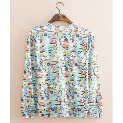 Гаджет   Stylish Round Neck Fitted Cartoon Patterns Printed Long Sleeve Polyester Sweatshirt For Men Hoodies