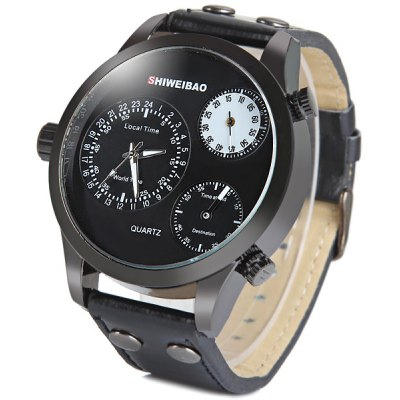 Shiweibao A3009 Three Movt Male Watch Japan Quartz Movement Leather Strap Round DialMens Watches<br>Shiweibao A3009 Three Movt Male Watch Japan Quartz Movement Leather Strap Round Dial<br><br>Watches categories: Male table<br>Watch style: Fashion<br>Available color: Brown, Black, White<br>Movement type: Quartz watch<br>Shape of the dial: Round<br>Display type: Analog<br>Case material: Stainless steel<br>Case color: Black<br>Band material: Leather<br>Clasp type: Pin buckle<br>The dial thickness: 1.3 cm / 0.5 inches<br>The dial diameter: 5.0 cm / 2.0 inches<br>The band width: 2.2 cm / 0.9 inches<br>Product weight: 0.074 kg<br>Product size (L x W x H): 26.3 x 5.0 x 1.3 cm / 10.4 x 2.0 x 0.5 inches<br>Package Contents: 1 x Watch