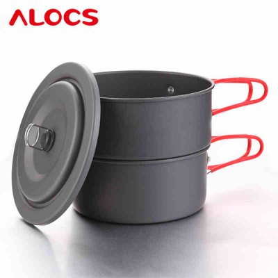 Гаджет   ALOCS CW - C17 Ultralight Outdoor Cookware Set 1 - 2 Person Steamer Pot Stockpot for Camping Cookout Backpacking Cooking Stove and Hardware