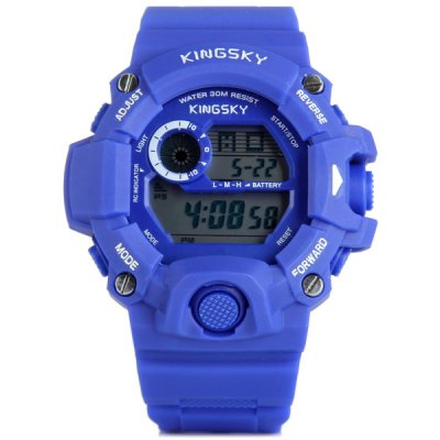 Kingsky 326 LED Sports Military Army Watch 30M Water Resistant Stopwatch Date WeekSports Watches<br>Kingsky 326 LED Sports Military Army Watch 30M Water Resistant Stopwatch Date Week<br><br>People: Unisex table<br>Watch style: Fashion&amp;Casual, Military, Outdoor Sports, LED<br>Available color: Yellow, Blue, Red, White<br>Shape of the dial: Round<br>Movement type: Digital watch<br>Display type: Digital<br>Case material: PC<br>Band material: PU<br>Clasp type: Pin buckle<br>Special features: EL Back-light, Stopwatch, Alarm clock, Week, Date<br>Water Resistance: 30 meters<br>The dial thickness: 1.4 cm / 0.6 inches<br>The dial diameter: 5.0 cm / 2.0 inches<br>The band width: 2.3 cm / 0.9 inches<br>Product weight: 0.057 kg<br>Product size (L x W x H) : 26 x 5.0 x 1.3 cm / 10.2 x 2.0 x 0.6 inches<br>Package contents: 1 x Watch