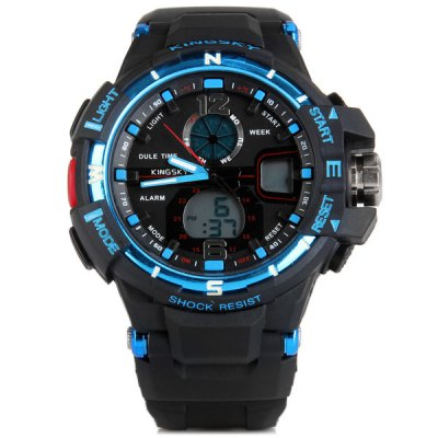 Kingsky 289 Dual - movt LED Military Watch 30M Water Resistant Stopwatch Week for SportsSports Watches<br>Kingsky 289 Dual - movt LED Military Watch 30M Water Resistant Stopwatch Week for Sports<br><br>People: Unisex table<br>Watch style: Fashion&amp;Casual, Military, Outdoor Sports, LED<br>Available color: Red, White, Blue<br>Shape of the dial: Round<br>Movement type: Double-movtz<br>Display type: Analog-Digital<br>Case material: PC<br>Band material: PU<br>Clasp type: Pin buckle<br>Special features: Stopwatch, EL Back-light, Week, Alarm clock<br>Water Resistance: 30 meters<br>The dial thickness: 1.3 cm / 0.5 inches<br>The dial diameter: 4.3 cm / 1.7 inches<br>The band width: 2.1 cm / 0.9 inches<br>Product weight: 0.057 kg<br>Product size (L x W x H) : 24.5 x 4.3 x 1.3 cm / 9.6 x 1.7 x 0.5 inches<br>Package contents: 1 x Watch
