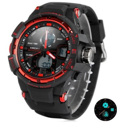 Kingsky 289 Dual - movt LED Military Watch 30M Water Resistant Stopwatch Week for Sports