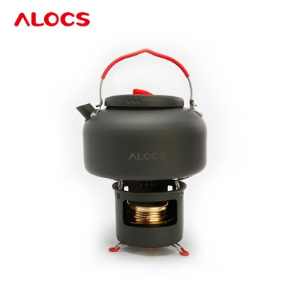 Гаджет   ALOCS CW - K04 PRO Outdoor 1.4L Kettle Teapot + Spirit Burner Camping Cookware Kit Cooking Stove and Hardware