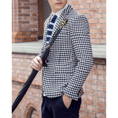 Гаджет   Laconic Lapel Slimming Fashion Houndstooth Print Long Sleeves Men