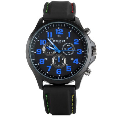 Гаджет   Rosivga 563 Men Quartz Watch with Rubber Band Round Dial Men