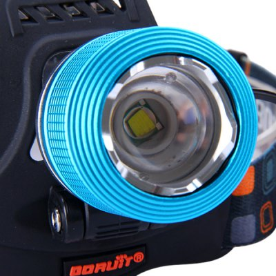 Boruit 600 Lumens Cree XM - L T6 Zoomable LED Headlight Rechargeable Cycling Light (2 x 18650 Battery)