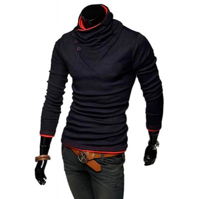 ФОТО Stylish Stand Collar Slimming Color Splicing Buttons Design Long Sleeve Polyester Sweatshirt For Men