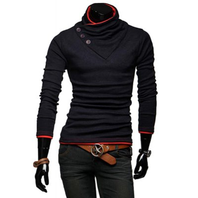 Stylish Stand Collar Slimming Color Splicing Buttons Design Long Sleeve Polyester Sweatshirt For Men