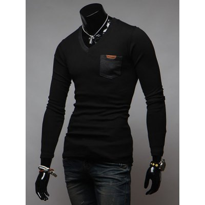ФОТО Stylish V-Neck Slimming Color Splicing Pocket Design Long Sleeve Cotton Blend T-Shirt For Men