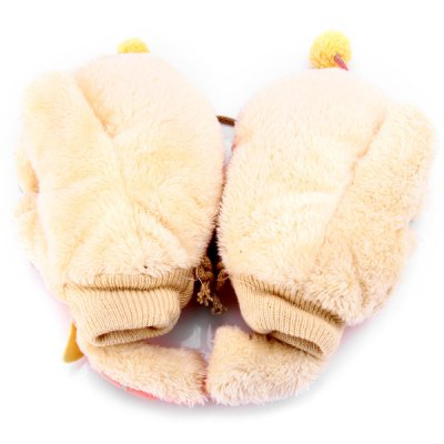 1 Pair Plush Thick Warm Elephant Style Gloves with String for Christmas Gift
