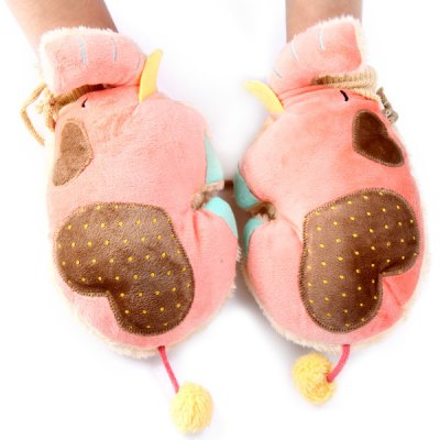 Фотография 1 Pair Plush Thick Warm Elephant Style Gloves with String for Christmas Gift
