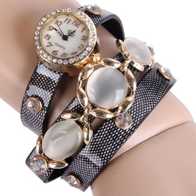 Female Three Beads Quartz Watch Round Dial Leather Watchband