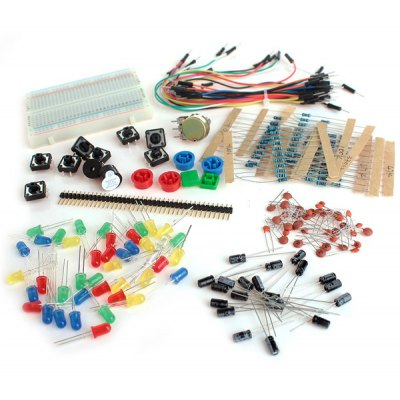 XD - 22 Practical Robot Arduino Compatible DIY Resistor + Capacitor + Button Switch + Buzzer etc. Kit