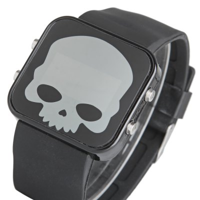 FY088 LED Sports Skull Face Watch Red Light Chronograph Date Rubber Watchband