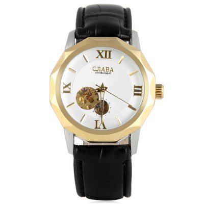 ФОТО CJIABA 8001 Men Automatic Mechanical Watch Hollow - out Genuine Leather Band Round Dial