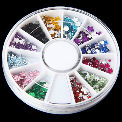 Colorful Plastic Flower Glitter Nail Sticker with Small Case