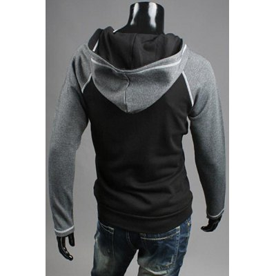 ФОТО Stylish Slimming Color Block Splicing Pocket Design Long Sleeve Polyester Hoodie For Men