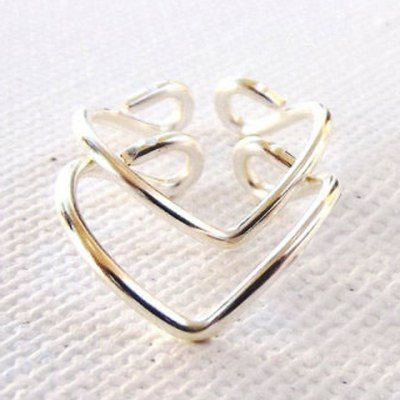 2PCS Vintage Simple Design V-Shaped Cuff Feet Rings For Women
