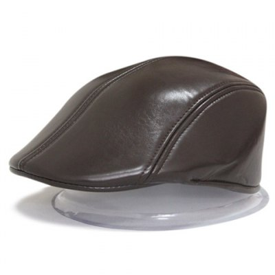Chic Solid Color Leather Material Visor For Men