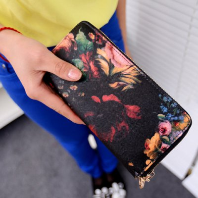 Stylish Floral Print and Zipper Design Women's Clutch Wallet