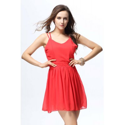 Sexy Spaghetti Strap Solid Color Criss-Cross Backless Chiffon Dress For Women