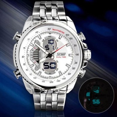 Skmei 0993 Double Time Men Quartz Digital Watch 3ATM Water Resistant with Date Week Stainless Steel Band