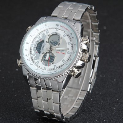 Skmei 0993 Double Time Men Quartz Digital Watch 3ATM Water Resistant with Date Week Stainless Steel BandMens Watches<br>Skmei 0993 Double Time Men Quartz Digital Watch 3ATM Water Resistant with Date Week Stainless Steel Band<br><br>Available Color: Black,White<br>Band color: Silver<br>Band material: Stainless Steel<br>Brand: Skmei<br>Case material: Stainless Steel<br>Clasp type: Folding clasp with safety<br>Display type: Analog<br>Movement type: Double-movtz<br>Package Contents: 1 x Watch<br>Package size (L x W x H): 16.50 x 5.50 x 2.50 cm / 6.5 x 2.17 x 0.98 inches<br>Package weight: 0.203 kg<br>Product size (L x W x H): 15.50 x 4.50 x 1.50 cm / 6.1 x 1.77 x 0.59 inches<br>Product weight: 0.139 kg<br>Shape of the dial: Round<br>Special features: Date, Week, Light<br>The band width: 2.0 cm / 0.8 inches<br>The dial diameter: 4.5 cm / 1.8 inches<br>The dial thickness: 1.5 cm / 0.6 inches<br>Watch style: Business<br>Watches categories: Male table<br>Water resistance : 30 meters