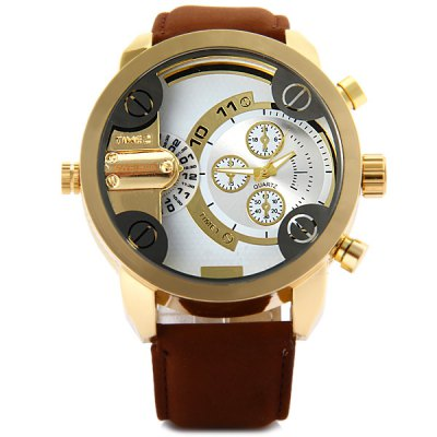 Shiweibao A3132 Men Dual Quartz Watch with Leather Band Big DialMens Watches<br>Shiweibao A3132 Men Dual Quartz Watch with Leather Band Big Dial<br><br>Available Color: Black,Blue,Brown<br>Band material: Leather<br>Brand: Shiweibao<br>Case material: Stainless Steel<br>Clasp type: Pin buckle<br>Display type: Analog<br>Movement type: Quartz watch<br>Package Contents: 1 x Shiweibao A3132 Watch<br>Package size (L x W x H): 27.8 x 6 x 2.4 cm / 10.93 x 2.36 x 0.94 inches<br>Package weight: 0.137 kg<br>Product size (L x W x H): 26.8 x 5.0 x 1.4 cm / 10.53 x 1.97 x 0.55 inches<br>Product weight: 0.087 kg<br>Shape of the dial: Round<br>Special features: Decorating small sub-dials<br>The band width: 2.1 cm / 0.83 inches<br>The dial diameter: 5.0 cm / 1.97 inches<br>The dial thickness: 1.4 cm / 0.55 inches<br>Watch style: Casual<br>Watch-head: Screw-plug<br>Watches categories: Male table
