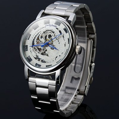 Lucky family Female Hand - winding Automatic Mechanical Watch Hollow - out Phoenix Pattern